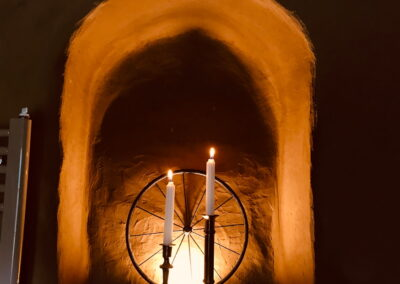 Kerzen in einer Nische - Ferienhaus Gänsetrappe Ballenstedt